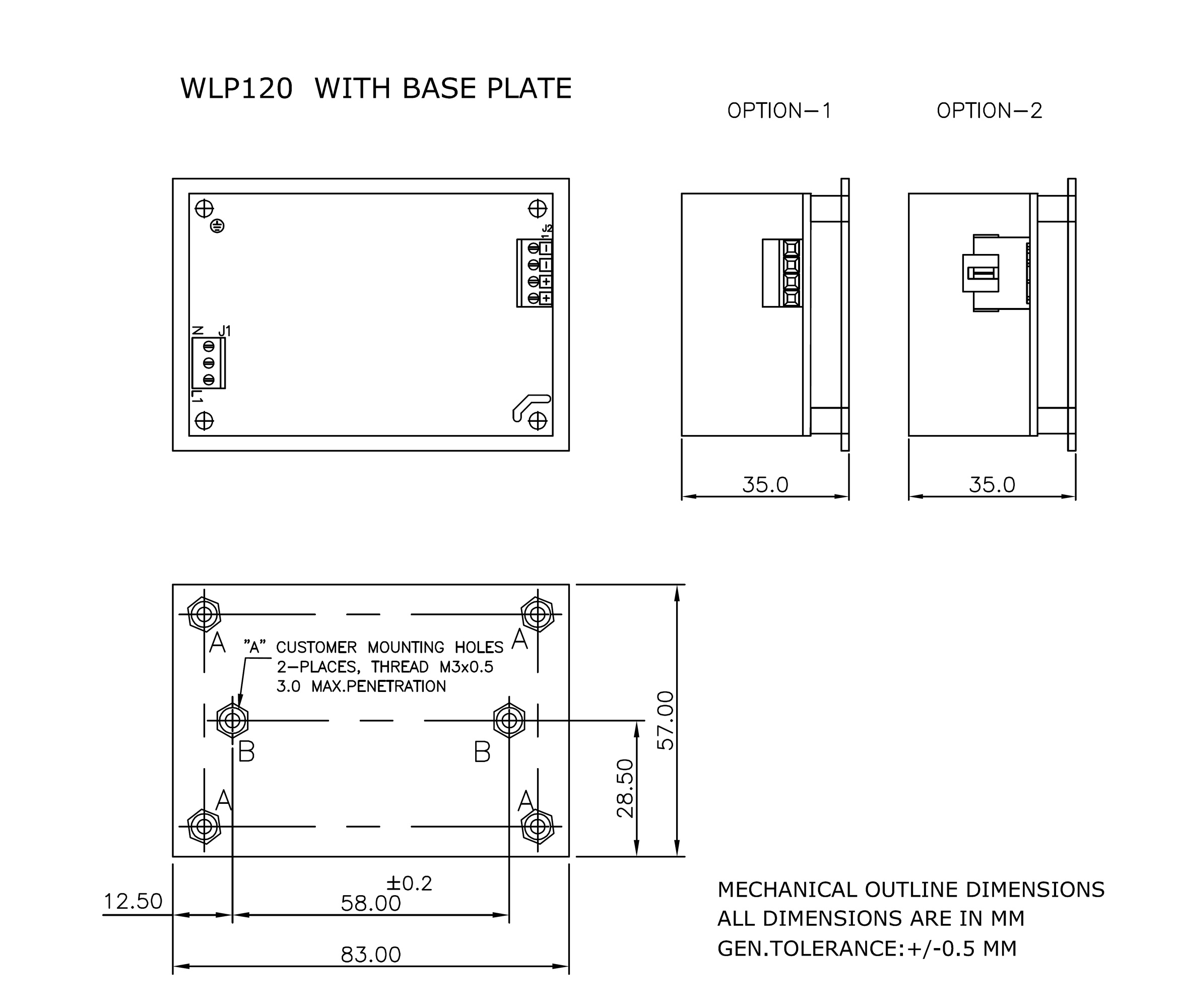 WLP120 Base plate mechanical drawing