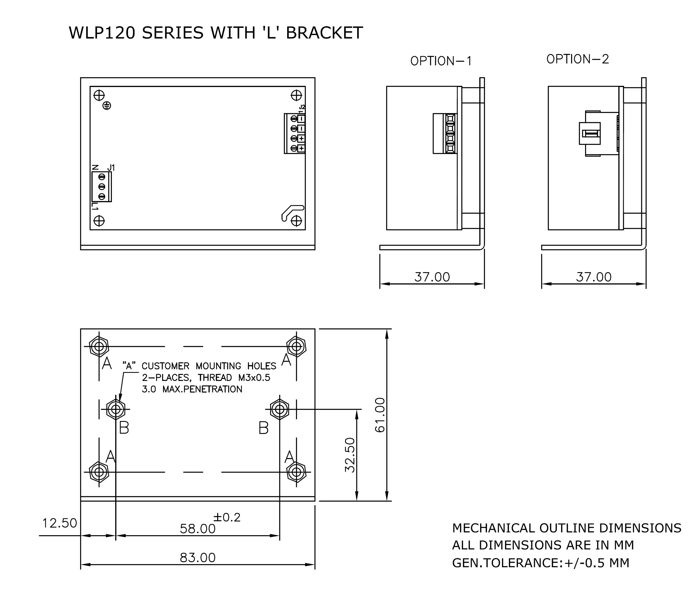 WLP120 L Bracket mechanical drawing