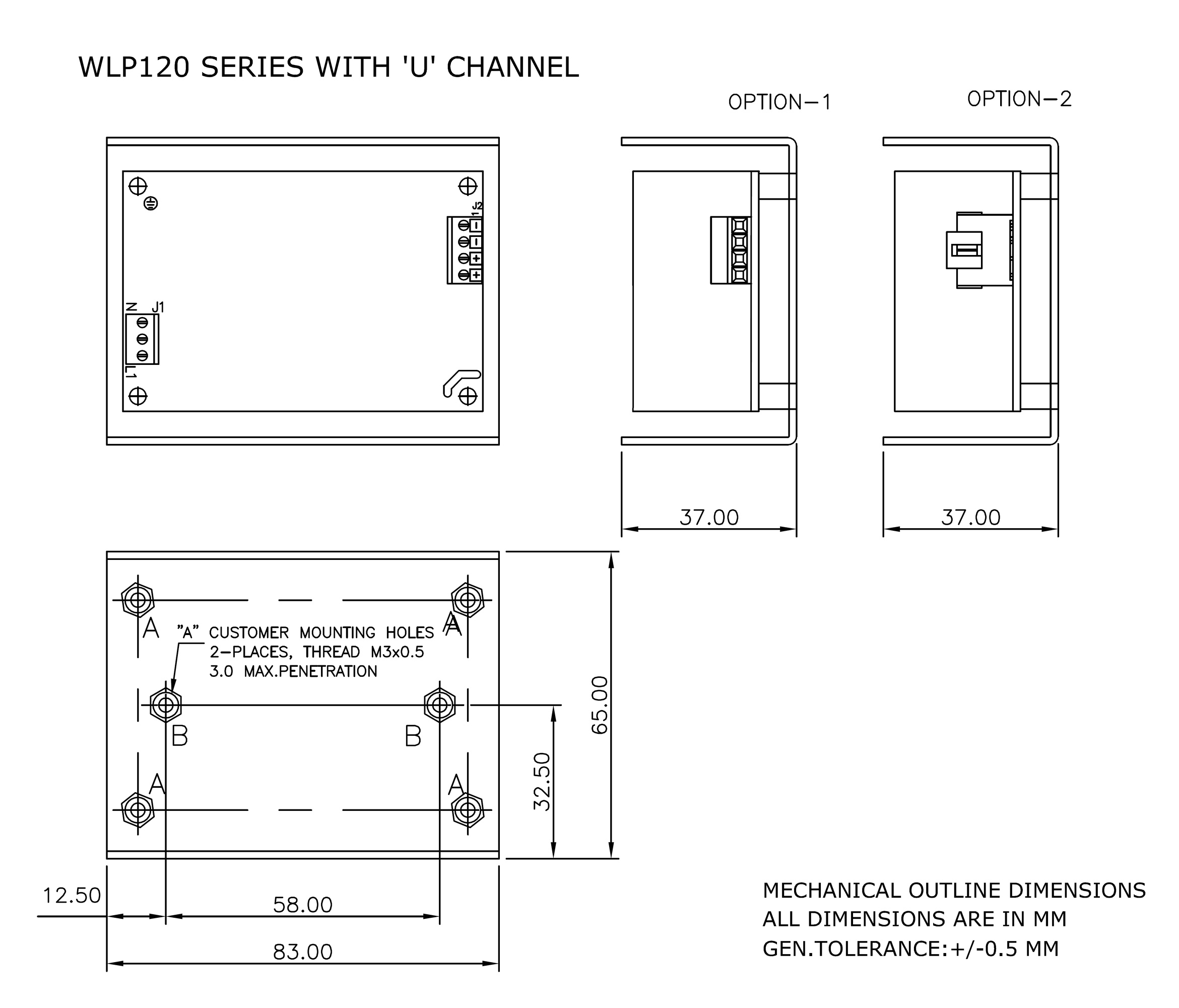 WLP120 U channel mechanical drawing