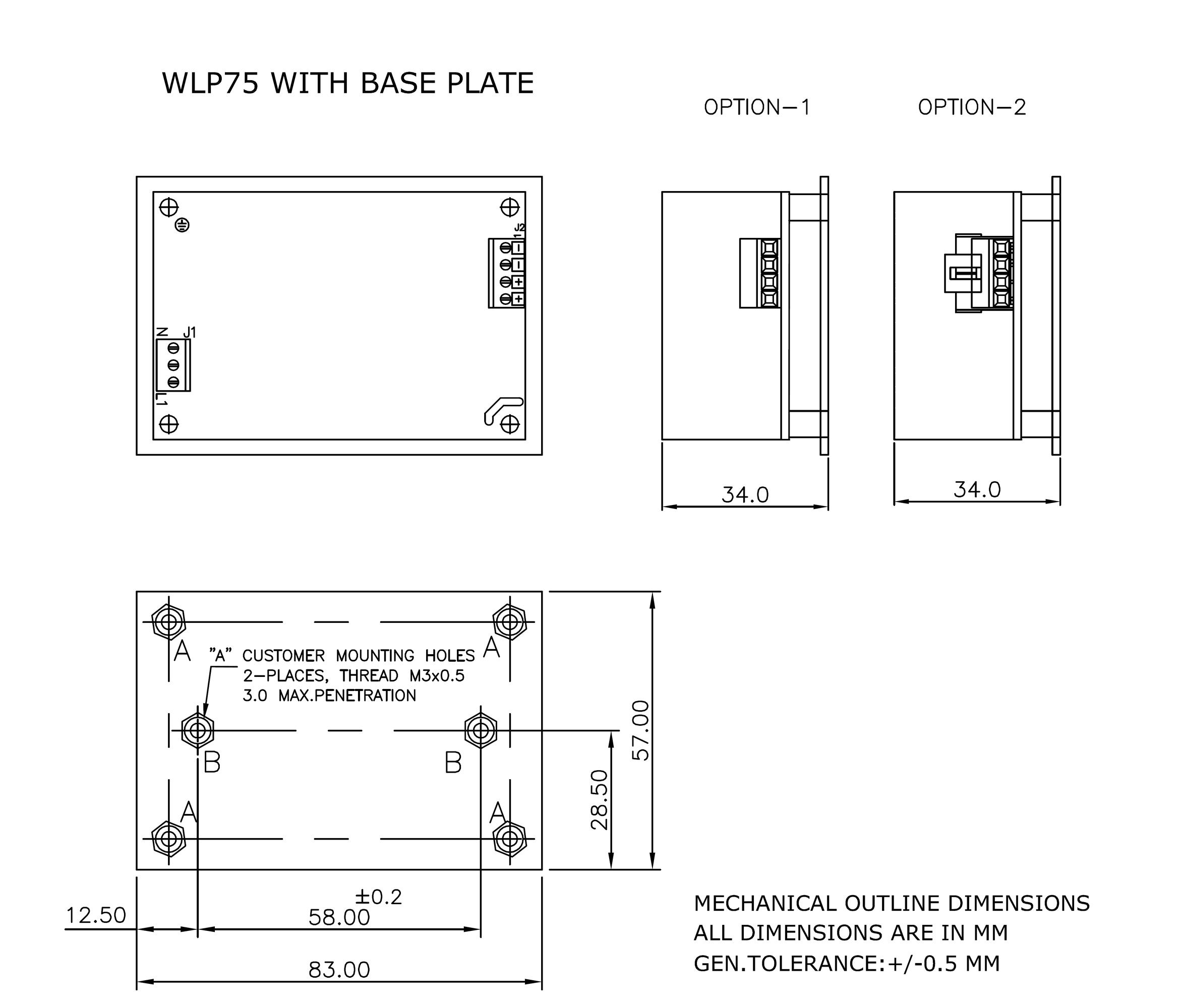 WLP75 Base plate mechanical drawing