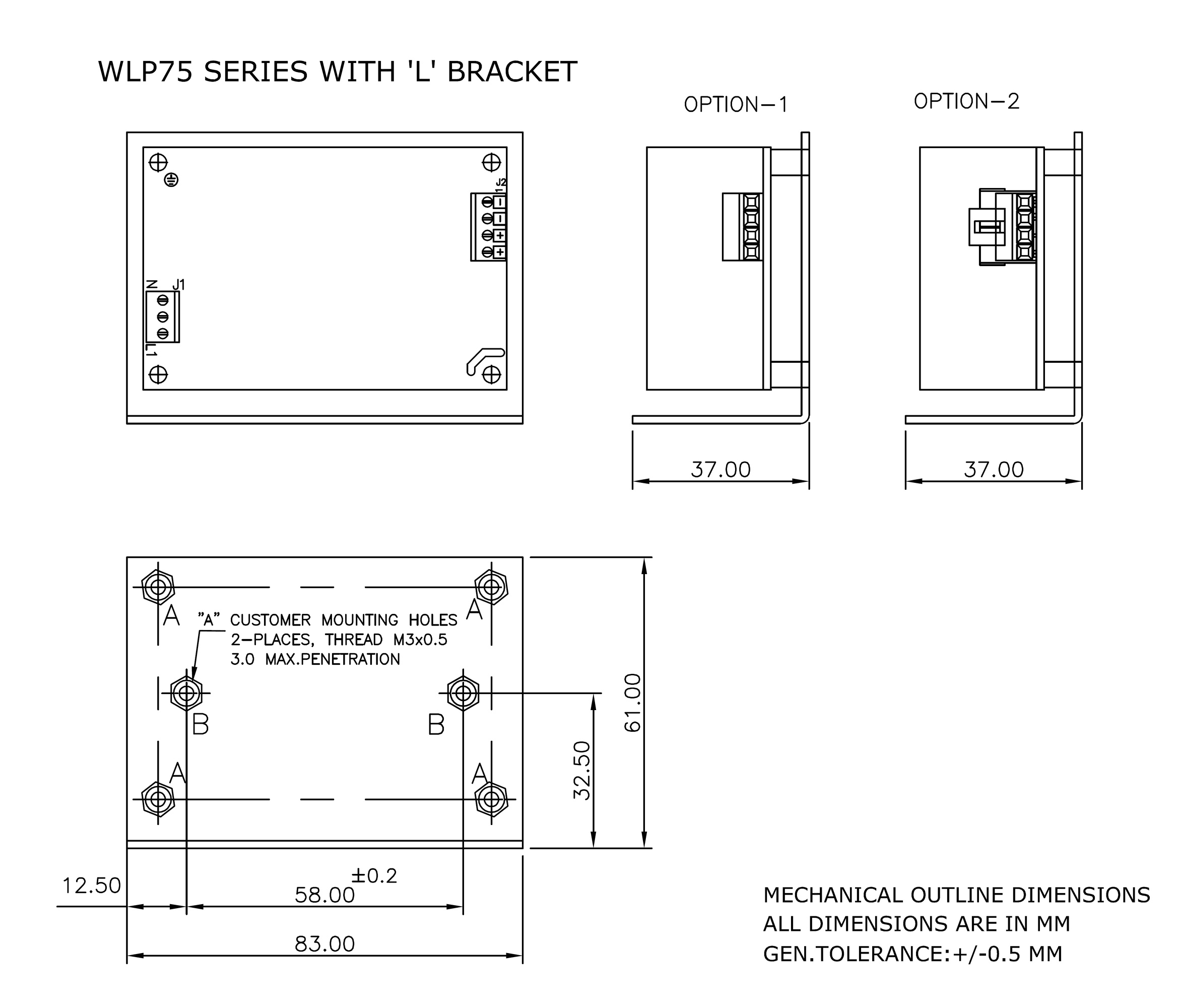 WLP75 L Bracket mechanical drawing