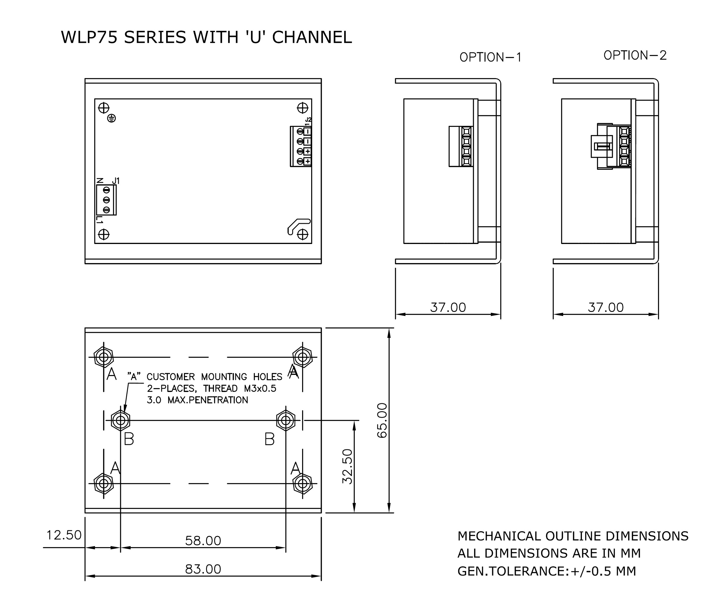 WLP75 U channel mechanical drawing